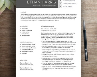Professional resume template for word, cover letter + references, 2 page resume, downloadable, printable, modern, creative, curriculum vitae