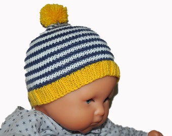 Bonnet striped Pompom for baby, knitted wool/cashmere hand