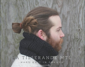 Cowl men black - More colors - Mens knit cowl - Black knit cowl - Black cowl scarf - Wool knit cowl  // Canadian wool