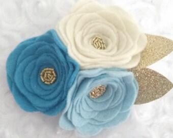 Light Blue- 3 Flower Headband