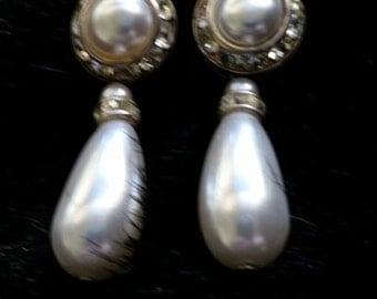 Vintage Pearl and Rhinestone Fashion Earrings
