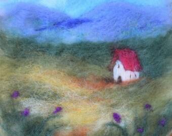 Red Roofed Cottage wet felted landscape