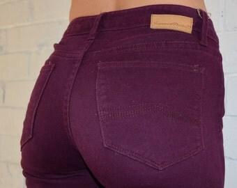 90s Maroon Skinny Jeans