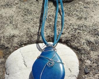 Aqua Teardrop Fire Wire Wrapped Agate Pendant Necklace