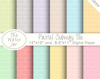 Pastel Subway Tile Digital Paper Pack SEAMLESS Patterns, Digital Wallpaper Background, Seamless Repeating Pattern