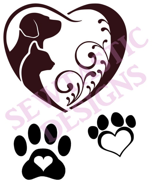 Download Paw Print Dog Cat Heart Cut File Cricut MTC SCAL