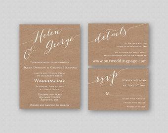 Caligraphy Wedding Invitation Suite Printable, Calligraphy Wedding Invitation Set, Rustic Wedding Invitation Template, Kraft Paper Texture