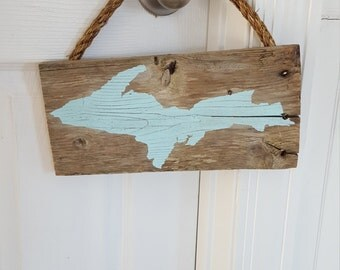 Upper Peninsula rustic barnwood sign, blue UP barnwood sign
