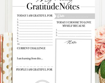 My Morning Gratitude Notes and Always Believe in Yourself Wall Art - Printable