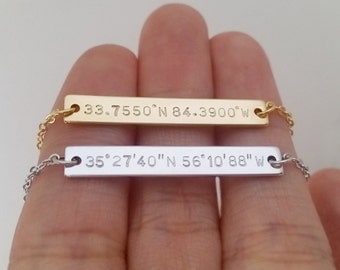 Custom Hand Stamped Gold Silver Coordinates Necklace, Location GPS Coordinates, Latitude Longitude, Wedding Gift, Anniversary Gift