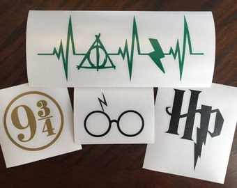 Harry Potter Special | Harry Potter Decal Special | Glasses with Scar | Heartbeat | 9 3/4 | SCI FI  | Lightning | Die-Cut | Yeti
