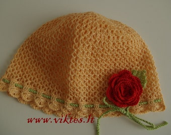 READY TO SHIP Crochet baby hat with rose, toddler hat, summer hat, decorated girl hat