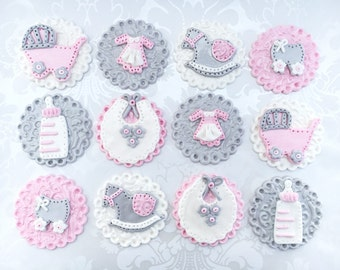 Girl Baby Shower Fondant Cupcake Toppers. Edible Baby Shower Toppers. Vintage Baby Topper. Fondant Cupcake Topper. Custom Baby Shower Topper