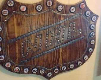 Handmade NHL plaque with NHL Bottle Caps