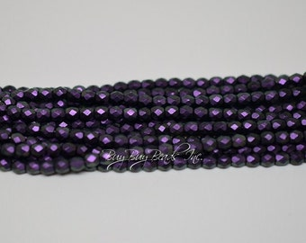 4MM, Heavy Eggplant, Round Faceted, Fire Polished Czech Glass Beads - 50 Beads