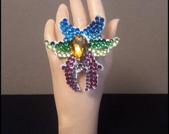 macrame ring with multicolor rhinestones/multicolor rhinestones ring