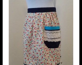 Vintage Inspired Pleated Flower Half Apron. with lace navy and turquoise accents. hostess apron