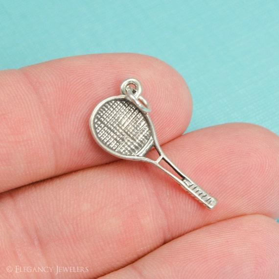 Tennis Charm Bracelet: Sterling Silver Tennis Racket Bracelet Charm Sports Pendant