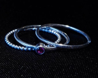 Sterling Silver Rings, Stacking Silver Ringset of 3 Rings, Sterling Silver Ring with Ruby, Handmade Ring, Ring Size 9,5