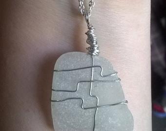 White Seaglass Necklace Pendant