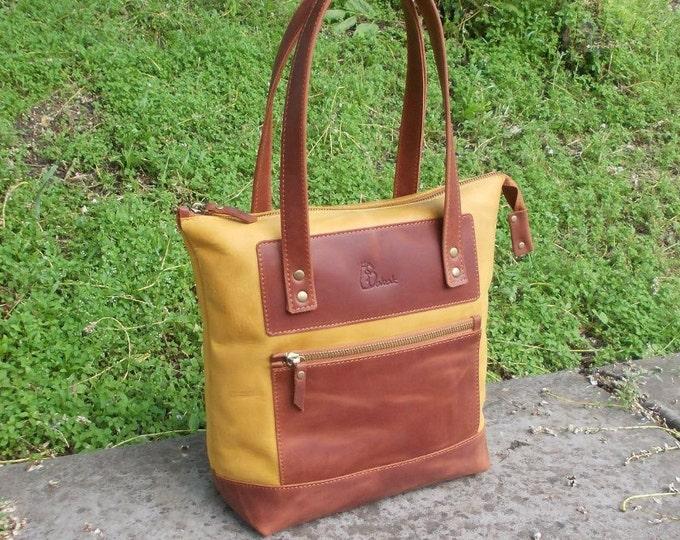 Leather Handbag, Leather Shoulder bag, Leather tote bag, Zipper Tote bag, Large tote bag, Large woman bag, Leather bag with zipper
