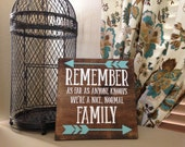 Remember As Far As Anyone Knows We're a Nice, Normal Family - Wood Sign 11.25in x 11.25in x 1in