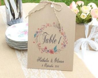 Number of table wedding vintage kraft