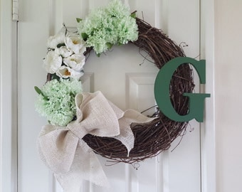 Rustic Wreath with Burlap Bow and Monogram