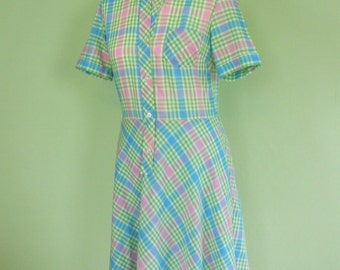 70s dress / checked pattern / size S / vintage / summer dress / day dress