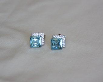 Aquamarine Studs.  Swarovski Crystal earrings. Elegant Stud earring. Crystal earrings. Blue earrings. Gift for her. Blue studs.