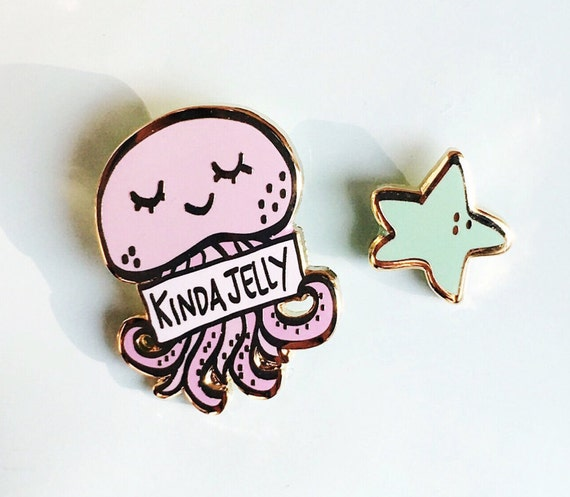 Kinda Jelly Set of Two Pins- Cute Jellyfish and Star Hard Enamel Pin Set - Lapel Pin Set-Hat Pins