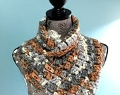 Super Soft Crochet Button Scarf (Caramel/Tan/Cream/Grey)