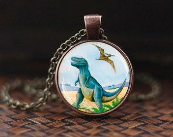 Dinosaur pendant, Dinosaur necklace, Dinosaur jewelry, vintage style Dinosaurs necklace, dinosaur lover gift, Jurassic Park necklace