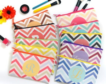 cosmetic bag, cosmetic bag personalized, chevron cosmetic bag