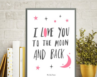 Illustration children stars and moon, Children poster, Nursery quote, Nursery decor, Bedroom wall decor, Illustration print, Art print, Gift