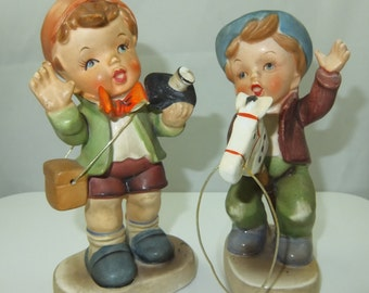 "Vintage Erich Stauffer Figurines Set of Two, ""The Photographer""  3373F and ""Happy Day"" 3373E, 1950s Figurines, 5 1/2"" Height"