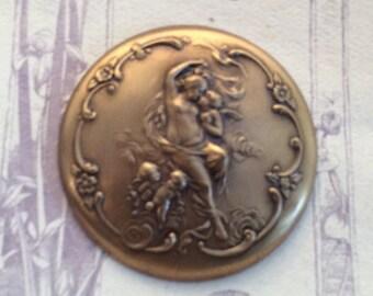 Round Art Nouveau Brooch