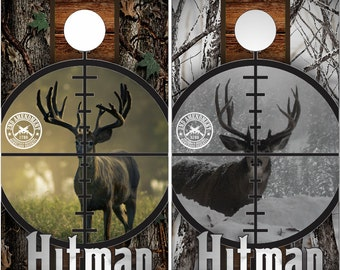 Deer Buck Scope Hitman Camo LAMINATED Cornhole Wrap Bag Toss Decal Baggo Skin Sticker Wraps
