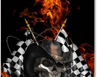 Race Cowboys Skull Flame Cornhole Wrap Bag Toss Decal Baggo Skin Sticker Wraps