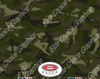 "Trucker Girl Green 15""x52"" or 24""x52"" Truck/Pattern Print Tree Real Camouflage Sticker Roll or Sheet"