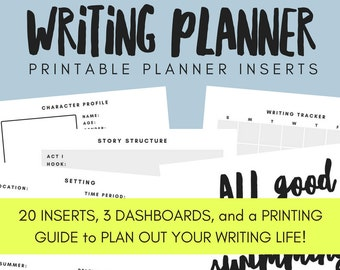 Writing Planner Printable Planner Inserts - ANY SIZE PLANNER