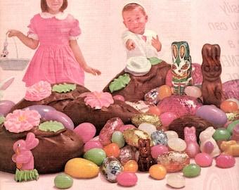 1960's Brach's tickle em Pink Easter Candy vintage magazine ad
