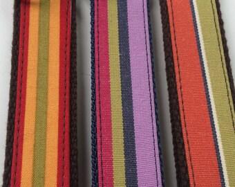 Handmade Vertical Stripe Fabric Key Fob, Key Chain, Key Ring, Key Holder