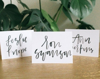 Custom Watercolor Place Cards | Escort Cards | Wedding Place Cards | Wedding Name Cards | Hand Lettered | Modern Calligraphy
