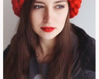 Super Chunky Hat, Hand knit Hat, Slouchy Hat, Helsinki Hat, Merino Wool Hat, Red Hat