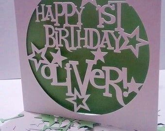 Personalised Star paper cut birthday card