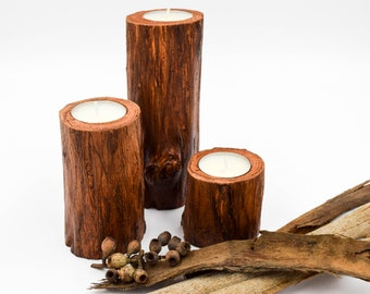 Wood Candle Holders for wedding centerpiece , Rustic Wedding Candle Holders, 3 Candle Holders, Australian Wooden Candle Holder