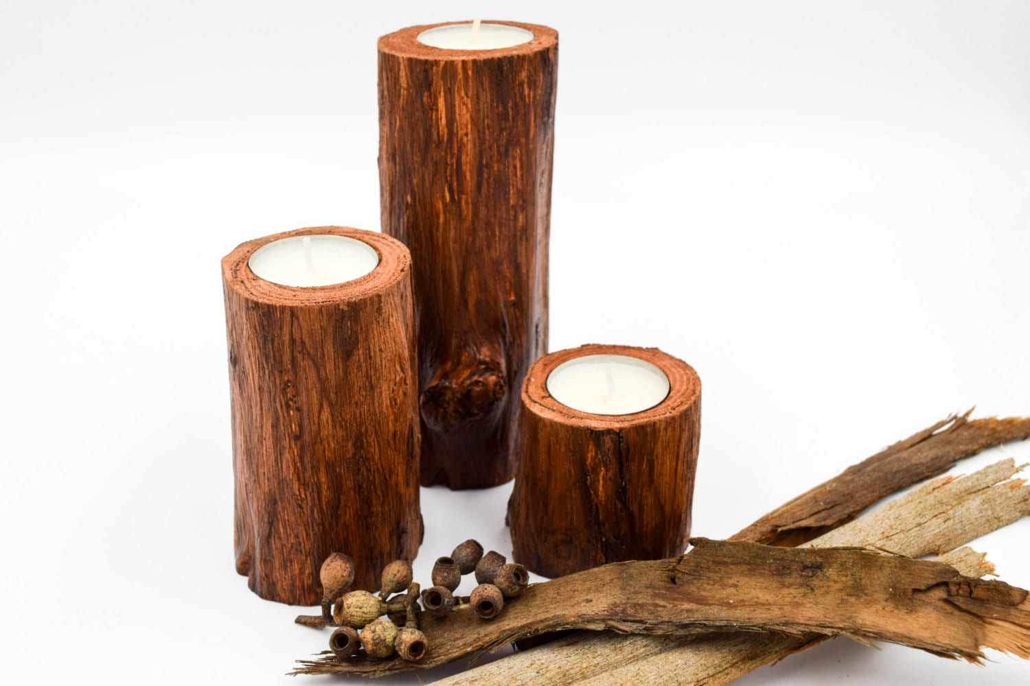 Wood candle holders for wedding centerpiece rustic