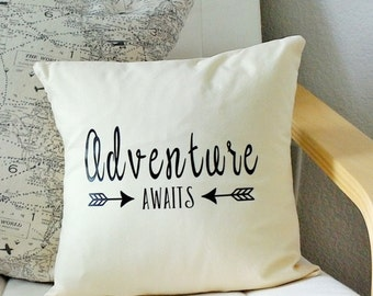 Adventure awaits throw pillow Nursery decor Baby shower gift Home decor accent pillow pillow covers