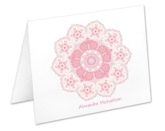Ornamental Lace, Personalized Note Cards, Stationery Set, Pink Notecards, Thank You Cards, Pink Stationary, Mandala Note cards, Custom Note